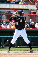 Erie SeaWolves third baseman Francisco Martinez (20) at bat during a game against the Akron RubberDucks on May 18, 2014 at Jerry Uht Park in Erie, Pennsylvania.  Akron defeated Erie 2-1.  (Mike Janes/Four Seam Images)