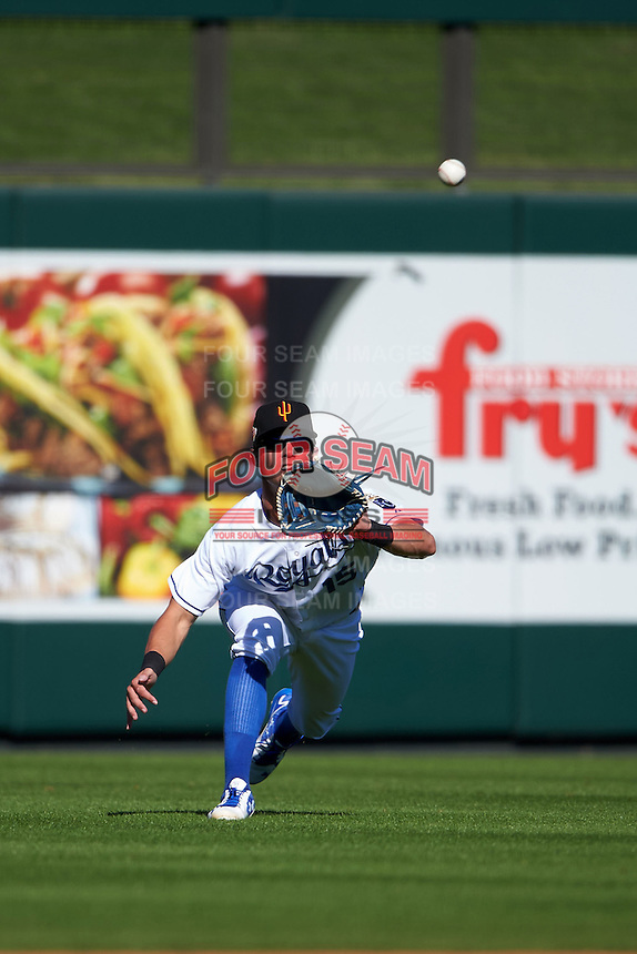 Surprise Saguaros outfielder Bubba Starling (15) makes a diving catch during an Arizona Fall League game against the Glendale Desert Dogs on October 23, 2015 at Salt River Fields at Talking Stick in Scottsdale, Arizona.  Glendale defeated Surprise 9-6.  (Mike Janes/Four Seam Images)