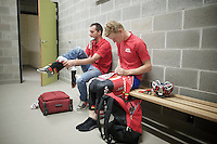 Gert Dockx (BEL/Lotto-Belisol) & Kenny Dehaes (BEL/Lotto-Belisol) getting ready to race<br /> <br /> Heistse Pijl 2014