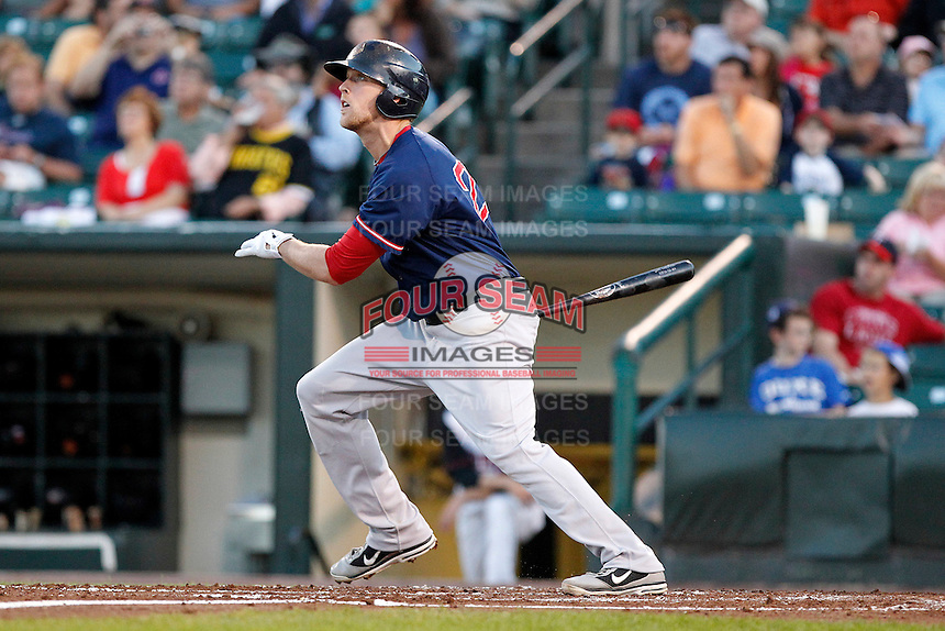 Pawtucket Red Sox first baseman Lars Anderson #26 hits a double during a game against the Rochester Red Wings at Frontier Field on August 30, 2011 in Rochester, New York.  Rochester defeated Pawtucket 8-6.  (Mike Janes/Four Seam Images)