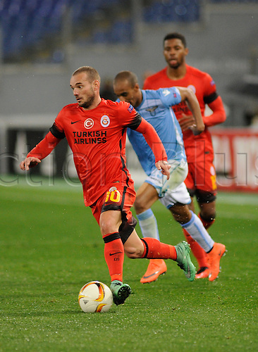 25.02.2016. Stadio Olimpico, Rome, Italy. Uefa Europa League, Return leg of SS Lazio versus Galatasaray. Wesley Sneijder in action