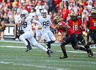 College Park, MD - November 25, 2017: Penn State Nittany Lions quarterback Trace McSorley (9) runs the ball during game between Penn St and Maryland at  Capital One Field at Maryland Stadium in College Park, MD.  (Photo by Elliott Brown/Media Images International)