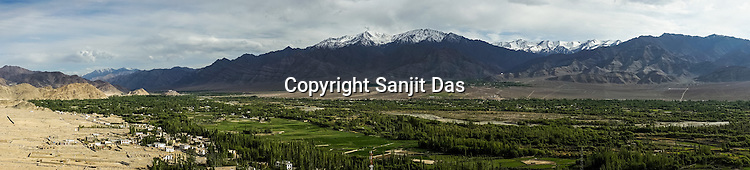 View from the Thiksey Monastery outside of Leh, Ladakh, India.