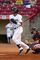 Cedar Rapids Kernels outfielder Adam Walker #38 bats during a game against the Lansing Lugnuts at Veterans Memorial Stadium on April 29, 2013 in Cedar Rapids, Iowa. (Brace Hemmelgarn/Four Seam Images)