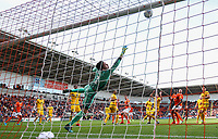 Blackpool's Ben Heneghan hits the bar with a header<br /> <br /> Photographer Alex Dodd/CameraSport<br /> <br /> The EFL Sky Bet League One - Blackpool v MK Dons  - Saturday September 14th 2019 - Bloomfield Road - Blackpool<br /> <br /> World Copyright © 2019 CameraSport. All rights reserved. 43 Linden Ave. Countesthorpe. Leicester. England. LE8 5PG - Tel: +44 (0) 116 277 4147 - admin@camerasport.com - www.camerasport.com