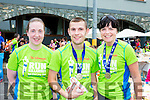 Susan Lyne with Darragh and Mary O'Connell (Killarney) pictured at the finish of the Killarney Run half marathon at the Gleneagle Hotel on Saturday.