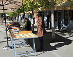 Bookseller booths and stalls, Cuesta de Moyano near Retiro Park, Madrid, Spain