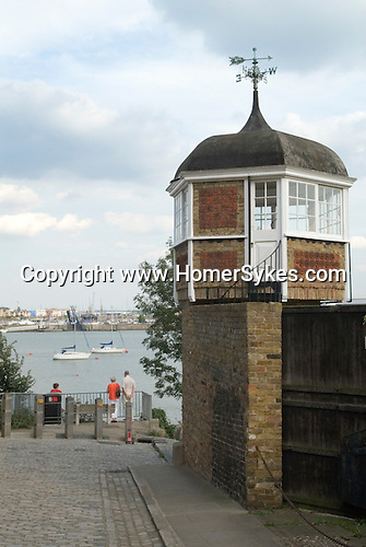 Upnor Kent UK . Looking across the River Medway estuary to St Marys island  Chatham Kent.