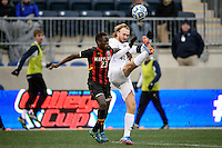 Maryland Terrapins midfielder Schillo Tshuma (23) and Notre Dame Fighting Irish defender Grant Van De Casteele (20). The Notre Dame Fighting Irish defeated the Maryland Terrapins 2-1 during the championship match of the division 1 2013 NCAA  Men's Soccer College Cup at PPL Park in Chester, PA, on December 15, 2013.