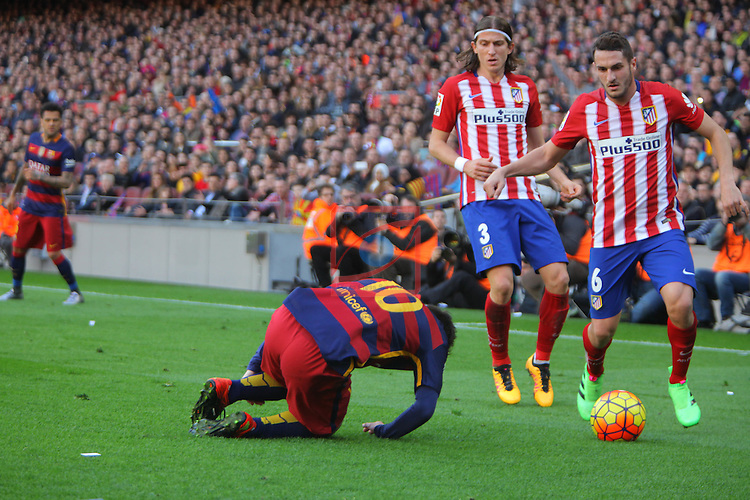 League BBVA 2015/2016 -Game: 22.<br /> FC Barcelona vs Atletico de Madrid: 2-1.<br /> Lionel Messi, Filipe Luis &amp; Koke.
