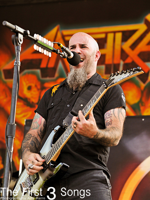 Scott Ian of Anthrax performs at the 2012 Rockstar Energy Drink Mayhem Festival at Blossom Music Center in Cleveland, Ohio.