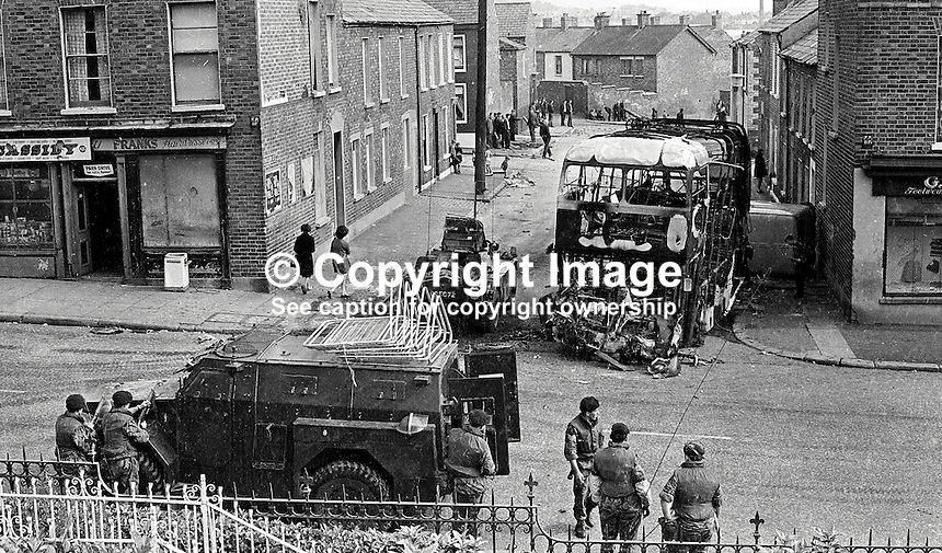 British army troops on duty in the Ardoyne district of Belfast after post-Internment overnight rioting. 385/71, 197108090385d..Copyright Image from Victor Patterson, 54 Dorchester Park, Belfast, UK, BT9 6RJ..Tel: +44 28 9066 1296.Mob: +44 7802 353836.Voicemail +44 20 8816 7153.Skype: victorpattersonbelfast.Email: victorpatterson@mac.com.Email: victorpatterson@ireland.com (back-up)..IMPORTANT: If you wish to use this image or any other of my images please go to www.victorpatterson.com and click on the Terms & Conditions. Then contact me by email or phone with the reference number(s) of the image(s) concerned.