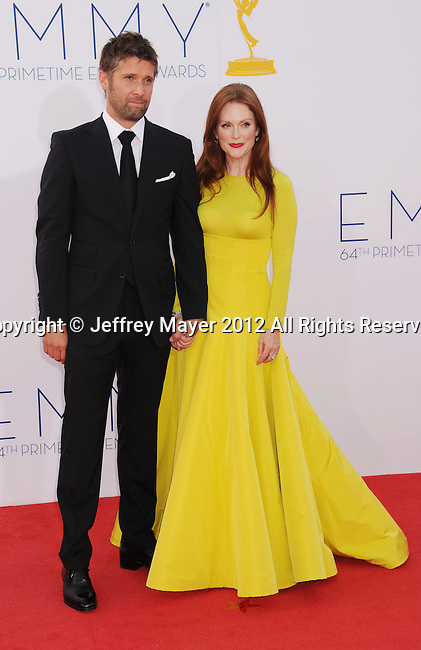 LOS ANGELES, CA - SEPTEMBER 23: Julianne Moore and Bart Freundlich arrive at the 64th Primetime Emmy Awards at Nokia Theatre L.A. Live on September 23, 2012 in Los Angeles, California.
