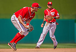 14 April 2013: Washington Nationals third baseman Ryan Zimmerman gathers in a grounder to get an out in the 7th inning against the Atlanta Braves at Nationals Park in Washington, DC. The Braves shut out the Nationals 9-0 to sweep their 3-game series. Mandatory Credit: Ed Wolfstein Photo *** RAW (NEF) Image File Available ***