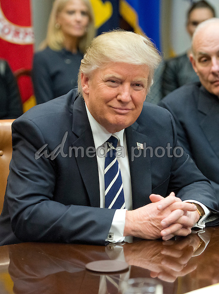 United States President Donald Trump holds a listening session with cyber security experts in the in the Roosevelt Room of the White House in Washington, DC on Tuesday, January 31, 2017. Photo Credit: Ron Sachs/CNP/AdMedia