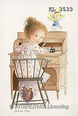 Interlitho, CHILDREN, nostalgic, paintings, girl, desk(KL3533,#K#) Kinder, niños, nostalgisch, nostálgico, illustrations, pinturas