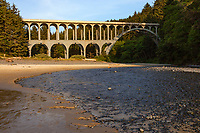 The Cape Creek Bridge carries US 101 over Cape Creek in Lane County, Oregon, United States. Opened in 1932 the bridge resembles a Roman aqueduct with a single parabolic arch that spans half its length. It was designed by noted bridge engineer Conde McCullough and built of reinforced concrete by John K. Holt.