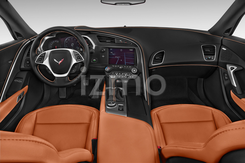 Stock photo of straight dashboard view of a 2019 Chevrolet Corvette Stingray Convertible 2LT 2 Door Convertible