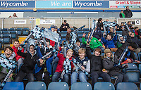 Young Wycombe supporters during the Sky Bet League 2 match between Wycombe Wanderers and Hartlepool United at Adams Park, High Wycombe, England on 26 November 2016. Photo by Andy Rowland / PRiME Media Images.
