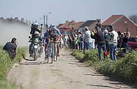 Stijn Vandenbergh (BEL/AG2R La Mondiale) leads the early breakaway group on pav&eacute; sector 20: Haveluy to Wallers<br /> <br /> 115th Paris-Roubaix 2017 (1.UWT)<br /> One day race: Compi&egrave;gne &gt; Roubaix (257km)