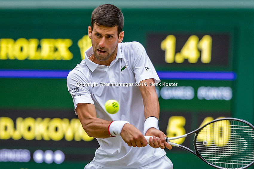 London, England, 8 July, 2019, Tennis,  Wimbledon, Men's singles: Novak Djokovic (SRB)<br /> Photo: Henk Koster/tennisimages.com