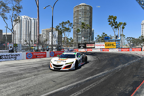 2017 IMSA WeatherTech SportsCar Championship<br /> BUBBA burger Sports Car Grand Prix at Long Beach<br /> Streets of Long Beach, CA USA<br /> Saturday 8 April 2017<br /> 93, Acura, Acura NSX, GTD, Andy Lally, Katherine Legge<br /> World Copyright: Richard Dole/LAT Images<br /> ref: Digital Image RD_LB17_334