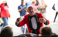 A Conductor entertaining the crowds on Ladies' Final Day<br /> <br /> Photographer Ashley Western/CameraSport<br /> <br /> Wimbledon Lawn Tennis Championships - Day 12 - Saturday 15th July 2017 -  All England Lawn Tennis and Croquet Club - Wimbledon - London - England<br /> <br /> World Copyright &not;&copy; 2017 CameraSport. All rights reserved. 43 Linden Ave. Countesthorpe. Leicester. England. LE8 5PG - Tel: +44 (0) 116 277 4147 - admin@camerasport.com - www.camerasport.com