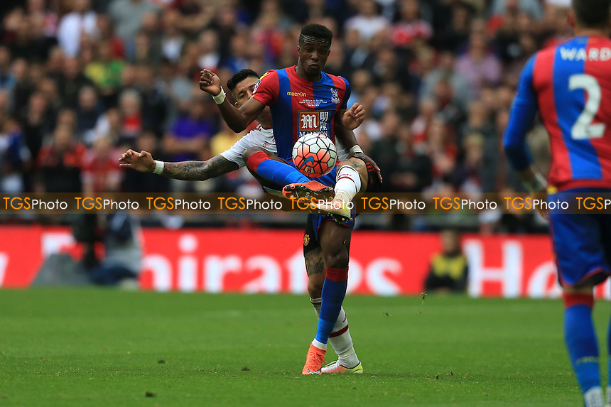 Marcos Rojo of Manchester United challenges Wilfried Zaha of Crystal Palace during Crystal Palace vs Manchester United, Emirates FA Cup Final Football at Wembley Stadium on 21st May 2016