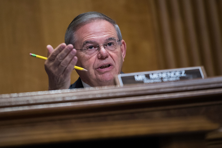 "UNITED STATES - JULY 25: Ranking member Sen. Bob Menendez, D-N.J., questions Secretary of State Mike Pompeo, during a Senate Foreign Relations Committee hearing in Dirksen Building titled ""American Diplomacy to Advance our National Security Strategy,"" on July 25, 2018. (Photo By Tom Williams/CQ Roll Call)"