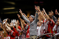 Ohio State fans cheer on the Buckeyes during the first quarter of the Allstate Sugar Bowl college football playoff semifinal against the Alabama Crimson Tide at the Mercedes-Benz Superdome in New Orleans on Jan. 1, 2015. (Adam Cairns / The Columbus Dispatch)