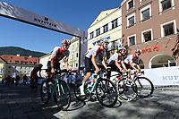 Picture by Richard Blaxall/SWpix.com - 28/09/2018 - Cycling 2018 Road Cycling World Championships Innsbruck-Tiriol, Austria - Mens U23 Road Race - Dimitri Bussard, Marc Hirschi, Gino Mader, Patrick Muller, Lukas Ruegg, Joab Schneiter of Switzerland.