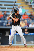 Delmarva Shorebirds first baseman Trey Mancini #9 awaits a pitch during a game against the Asheville Tourists at McCormick Field on April 4, 2014 in Asheville, North Carolina. The Shorebirds defeated the Tourists 7-2. (Tony Farlow/Four Seam Images)