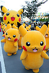 "August 7, 2016, Yokohama, Japan - 50 Pikachu characters, Nintendo's videogame software Pokemon's wellknown character, parade at a street in Yokohama, suburban Tokyo on Sunday, August 7, 2016. The Pikachu mascots walk around the shoppjng mall daily to attract summer vacationers as a part of the ""Great Pikachu Outbreak"" event through August 14.    (Photo by Yoshio Tsunoda/AFLO) LWX -ytd-"