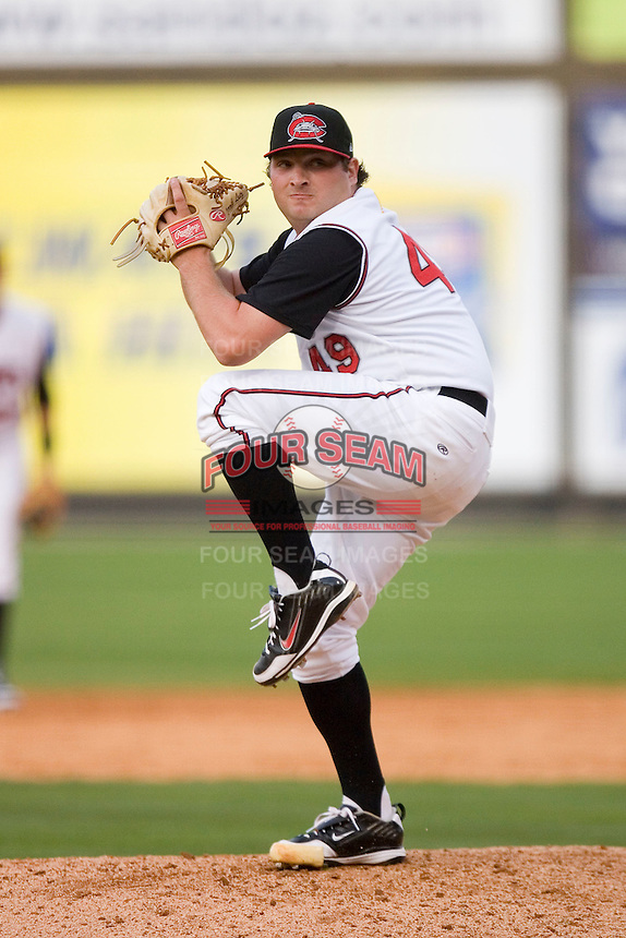 Relief pitcher Derrik Lutz #49 of the Carolina Mudcats in action versus the Jacksonville Suns at Five County Stadium May 18, 2009 in Zebulon, North Carolina. (Photo by Brian Westerholt / Four Seam Images)
