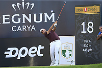 Alexander Levy (FRA) tees off the 18th tee during Saturday's Round 3 of the 2018 Turkish Airlines Open hosted by Regnum Carya Golf &amp; Spa Resort, Antalya, Turkey. 3rd November 2018.<br /> Picture: Eoin Clarke | Golffile<br /> <br /> <br /> All photos usage must carry mandatory copyright credit (&copy; Golffile | Eoin Clarke)