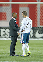 07 March 2012: LA Galaxy midfielder David Beckham #23 talks with Toronto FC head coach Aron Winter at the end of a CONCACAF Champions League game between the LA Galaxy and Toronto FC at the Rogers Centre in Toronto..The game ended in a 2-2 draw.