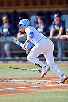 North Carolina Tar Heels second baseman Zack Gahagan (10) runs to first base during a game against the Pittsburgh Panthers at Boshamer Stadium on March 17, 2018 in Chapel Hill, North Carolina. The Tar Heels defeated the Panthers 4-0. (Tony Farlow/Four Seam Images)