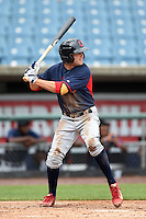 John Cox (1) of Greenville High School in Simpsonville, South Carolina playing for the Cleveland Indians scout team during the East Coast Pro Showcase on July 31, 2014 at NBT Bank Stadium in Syracuse, New York.  (Mike Janes/Four Seam Images)