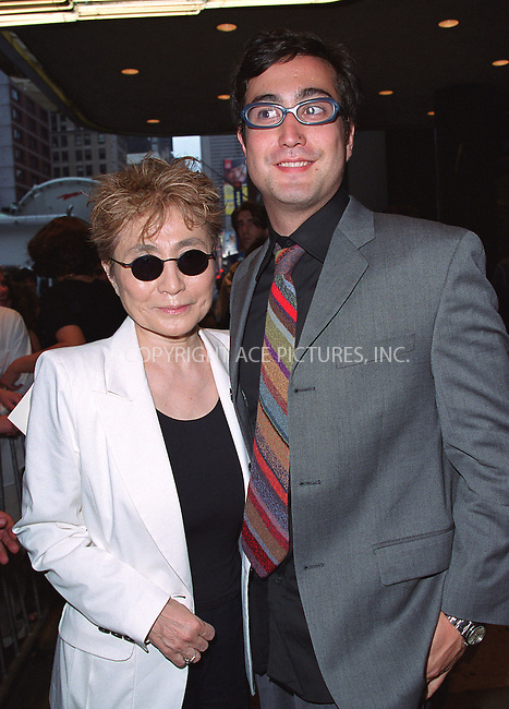 Yoko Ono and son Sean Lennon go to see Robin Williams live show on Broadway at the Broadway Theater in New York, July 14, 2002. Please byline: Alecsey Boldeskul/NY Photo Press.   ..*PAY-PER-USE*      ....NY Photo Press:  ..phone (646) 267-6913;   ..e-mail: info@nyphotopress.com