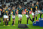 ENG - London, England, October 30: During the prize giving ceremony after the bronze medal match between South Africa (green/gold) and Argentina (blue/white) on October 30, 2015 at The Stadium, Queen Elizabeth Olympic Park in London, England. Final score 24-13 (HT 16-0). (Photo by Dirk Markgraf / www.265-images.com) *** Local caption *** (L-R) JP Pietersen #14 of South Africa, Willie Le Roux #15 of South Africa, Eben Etzebeth #4 of South Africa, Tendai Mtawarira #1 of South Africa, Bismarck Du Plessis #2 of South Africa, Francois Louw #6 of South Africa