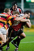 Poali Taula gets his legs pumping as he drags Josh Sutherland upfield. Air New Zealand Cup rugby game between Waikato & Counties Manukau played at Rugby Park, Hamilton, on the 17th of August , 2007. Haltime 8 - 8. Fulltime Waikato 30 - Counties Manukau 8.