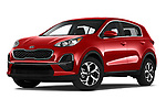 Stock pictures of low aggressive front three quarter view of a 2020 KIA Sportage LX 5 Door SUV