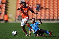 Blackpool's Demetri Mitchell rides the challenge Swindon Town's Jack Payne<br /> <br /> Photographer Kevin Barnes/CameraSport<br /> <br /> The EFL Sky Bet League One - Blackpool v Swindon Town - Saturday 19th September 2020 - Bloomfield Road - Blackpool<br /> <br /> World Copyright © 2020 CameraSport. All rights reserved. 43 Linden Ave. Countesthorpe. Leicester. England. LE8 5PG - Tel: +44 (0) 116 277 4147 - admin@camerasport.com - www.camerasport.com