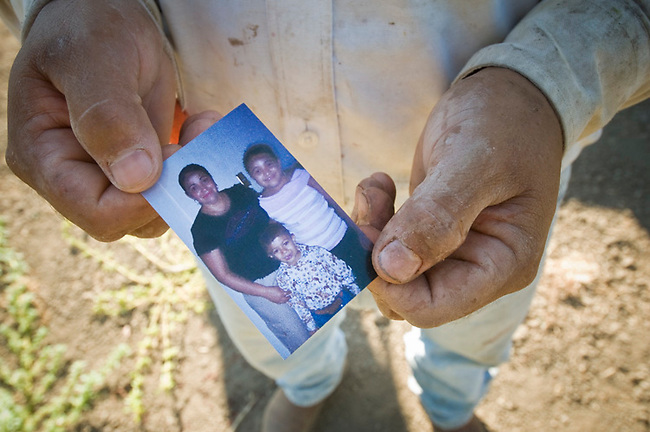 Picker Juan Chavolla holds photo of family he carries in wallet. Wife, daughter and son live in state of Michoacan in Mexico.  Wife:  Eloisa, Daughter: Brenda, son:  Diego
