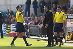 Atletico de Madrid´s coach Diego Pablo Simeone argues with the referee during 2014-15 La Liga match between Atletico de Madrid and Deportivo de la Coruña at Vicente Calderon stadium in Madrid, Spain. November 30, 2014. (ALTERPHOTOS/Victor Blanco)