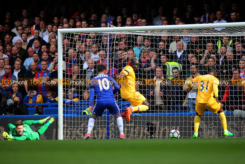 Eden Hazard of Chelsea fails to connect for the equaliser during Chelsea vs Crystal Palace, Premier League Football at Stamford Bridge on 1st April 2017