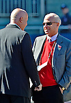 11 October 2012: Washington Nationals Owner Mark Lerner (right) chats with General Manager Mike Rizzo prior to Postseason Playoff Game 4 of the National League Divisional Series against the St. Louis Cardinals at Nationals Park in Washington, DC. The Nationals defeated the Cardinals 2-1 on a 9th inning, walk-off solo home run by Jayson Werth, tying the Series at 2 games apiece. Mandatory Credit: Ed Wolfstein Photo