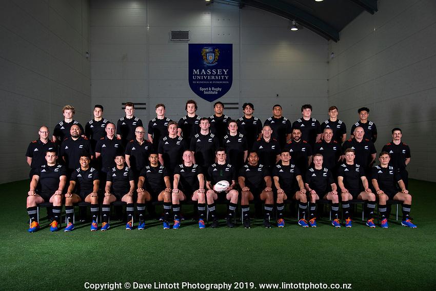 2019 New Zealand Schools rugby union team photo at the Sport & Rugby Institute in Palmerston North, New Zealand on Wednesday, 25 September 2019. BACK ROW: Ben Strang (Whanganui Collegiate), Matt Dobbyn (Hamilton Boys' High School), Wil Gualter (Lincoln High School), Cam Church (Saint Kentigern College), Jack Sexton (St Andrew's College), Te Rama Reuben (Saint Kentigern College), Meihana Grindlay (King's College), Vaiolini Ekuasi (St Peter's Cambridge), Seb Calder (St Andrew's College), Ruben Love (Palmerston North Boys' High School), Roderick Solo (Scots College); MIDDLE ROW: Nick Reid (Team Manager), Ezra Iupeli (National Team Administrator), Richie Marsden (Physiotherapist), Doug Neilson (Analyst), Corey Kellow (Sacred Heart College), Allan Craig (Saint Kentigern College), Dom Gardiner (St Bede's College), Mark Hammett (Head Coach), Sam Rasch (Assistant Coach), Kevin Harding (Assistant Coach), Matt Sexton (Campaign Manager), Stephan Van Gruting (Strength & Conditioning Coach); FRONT ROW: Ben Lopas (Christchurch Boys' High School), Manu Paea (Rotorua Boys' High School), Max Hughes (Christchurch Boys' High School), Gideon Wrampling (St Paul's Collegiate), Anton Segner (Nelson College), Zach Gallagher – Captain (Christ's College), Tiaan Tauakipulu (Saint Kentigern College), Jacob Ratumaitavuki-Kneepkens (Francis Douglas Memorial College), Blair Murray (New Plymouth Boys' High School), Ollie Lewis (Christchurch Boys' High School), Aidan Morgan (King's College). Photo: Dave Lintott / lintottphoto.co.nz