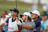 Tommy Fleetwood (ENG) tees off on the 17th hole during the first round of the 118th U.S. Open Championship at Shinnecock Hills Golf Club in Southampton, NY, USA. 14th June 2018.<br /> Picture: Golffile | Brian Spurlock<br /> <br /> <br /> All photo usage must carry mandatory copyright credit (&copy; Golffile | Brian Spurlock)