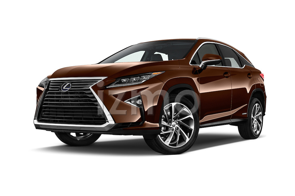 Stock pictures of low aggressive front three quarter view of 2016 Lexus RX Privilege Line 5 Door Suv Low Aggressive